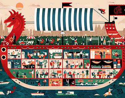 Illustration for Mobile Vikings company