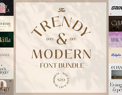 The Trendy & Modern Font Bundle - 94% Off