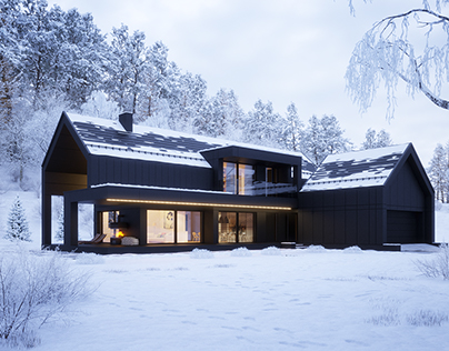 Black house in winter