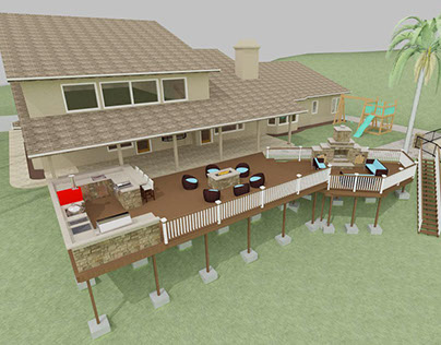 DECK WITH OUTDOOR KITCHEN, FIRE PIT AND FIRE PLACE