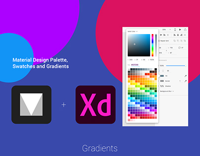 A complete Material Design color palette plus gradients