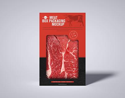 Free Meat Cutout Box Mockup