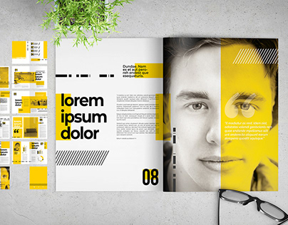 Oubel: Brochure Layout with Yellow Accents
