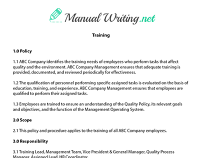 11+ training manual samples pdf.