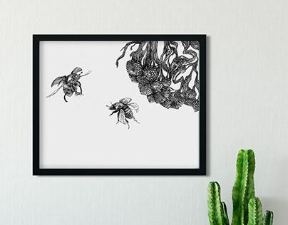 Bumblebees - etching