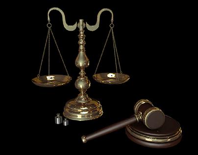3D Scales & Gavel Model
