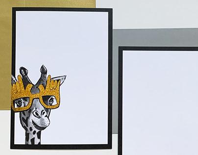 Giraffe Notecards - Spot Gold Sparkle Foil