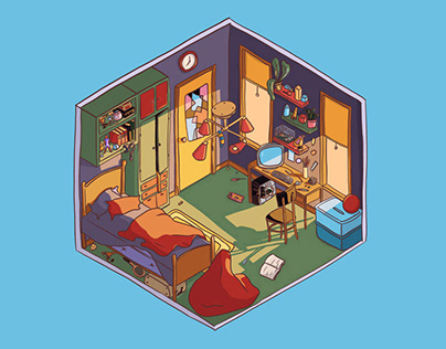 Isometric nerd room