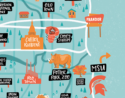Lansing Michigan - Illustrated Map