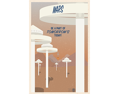 Retro-Futuristic Mars Travel Poster