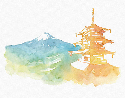 watercolor landscape painting for rebrand