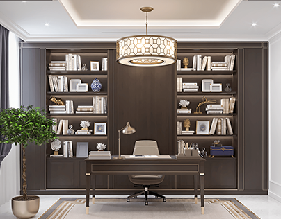 Home office in modern classic style for private villa