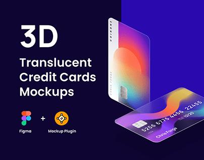 3D Translucent Credit Cards Mockups for Figma