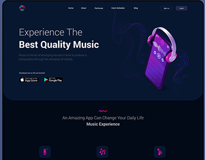 Landing page For Music