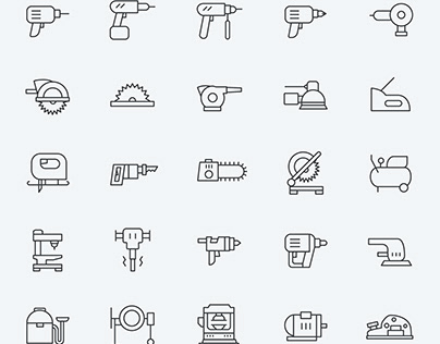 25 Line Power Tool Icons