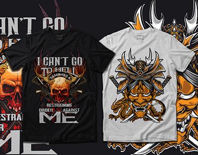 Trendy custom illustration printable t shirt design.
