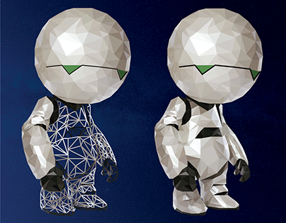 H2G2 lowpoly Marvin - Hitchhikker's guide to the galaxy