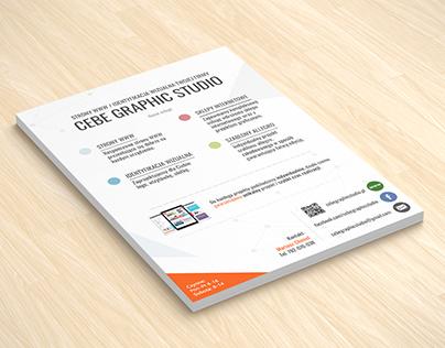 Projekt ulotki dla Cebe Graphic Studio.