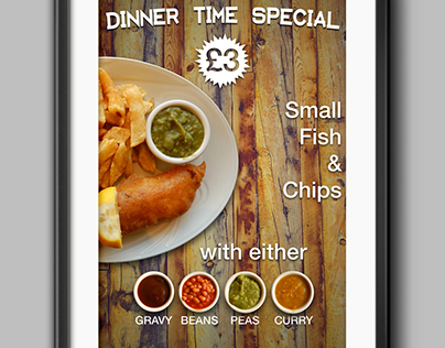 Dinner time special fish and chips poster