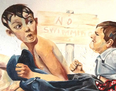 No Swimming Norman Rockwell Tribute