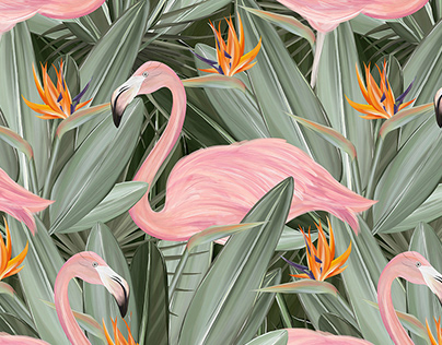 Hello from Paradise. Tropical patterns. Textile design