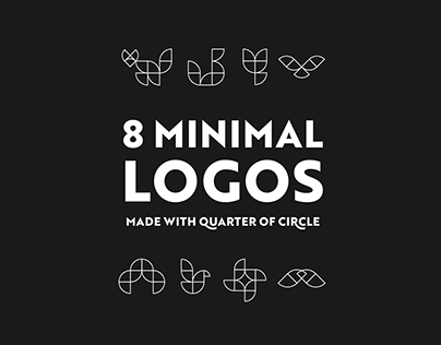 8 MINIMAL LOGOS (made only with quarter of circle)