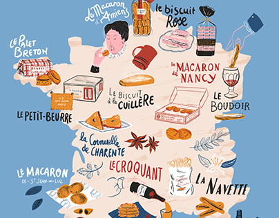 Tour de France des Biscuits // illustrated map