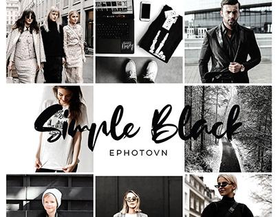 SIMPLE BLACK – 6 Adobe Lightroom Presets FREE