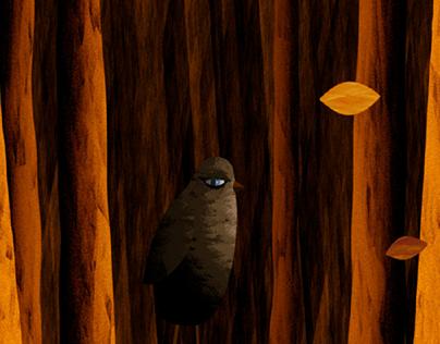 Bird walknig in the forest. Gif