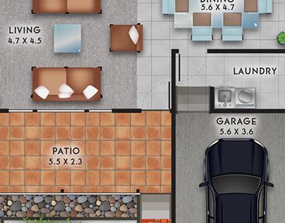 Vector Illustration of 2D House Floorplans