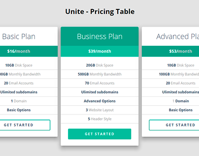 Unite – Pricing Table