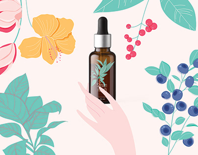 Illustrations for e-shop with cosmetics