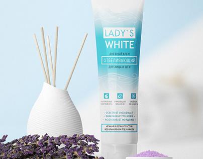 Дизайн упаковки отбеливающего крема Lady's White