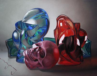 Vanitas Still Life with the Pink Skull, oil on canvas