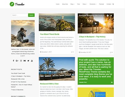 Blog Masonry Left Sidebar - Traveler WordPress Theme