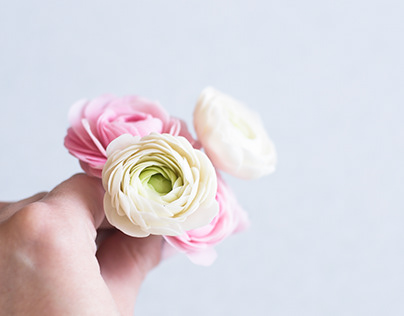 Pink handcrafted flowers