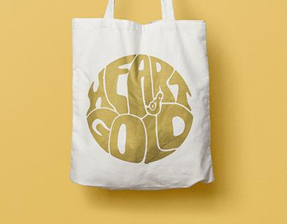"""Heart of Gold"" screen printed tote bag"