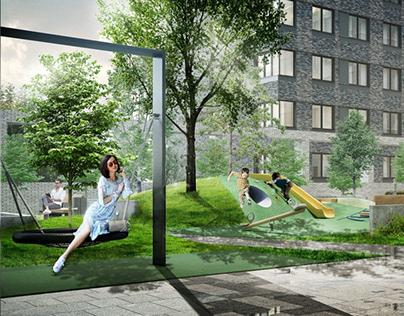 Housing Complex Yard Landscape Design
