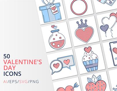 50 Valentine's Day icons