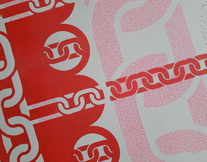 Riso print in flouro-pink and red