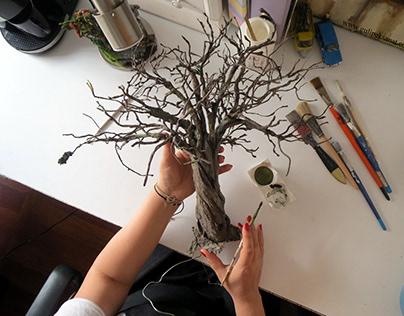 Miniature Tree Handmade Bu Gül ipek Olive Tree -2-
