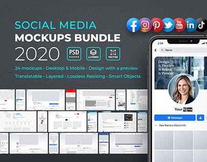 Social Media Profile Mockups Bundle 2020 - Template