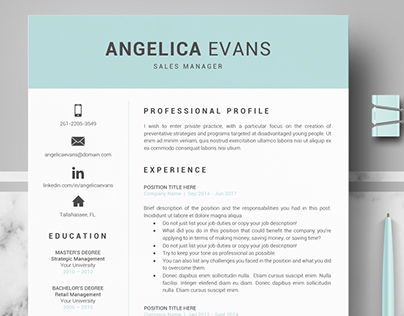 Professional resume template for word and Iwork Pages
