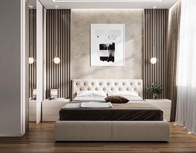 Нежная мастер-спальня со скрытой гардеробной