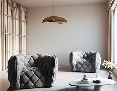 Flandrin Armchair, 3D Model + Interior