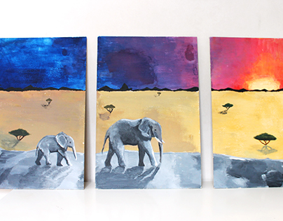 Triptych acrylic painting