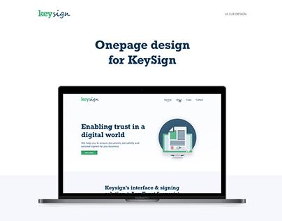 KeySign Onepager | UI / UX design