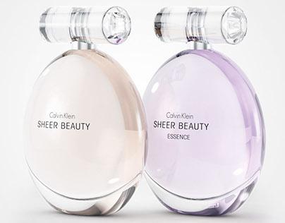 Calvin Klein Sheer Beauty Glass Perfume Bottles