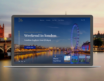Landing page for booking tours to London