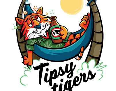Tipsy Tigers - T-shirt illustration
